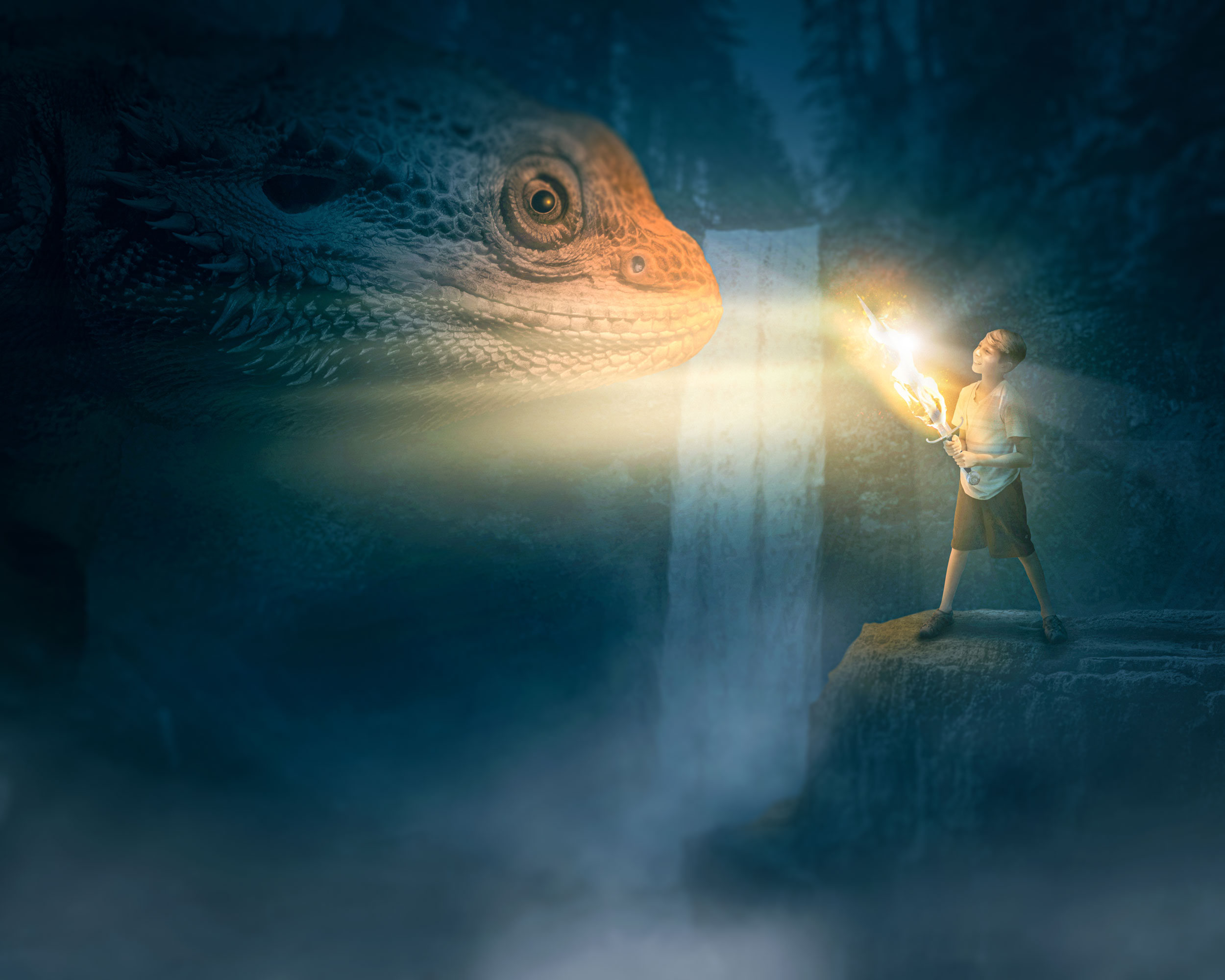 A young boy stands facing fears (symbolized by a dragon) in a dark, dingy place. The boy is holding a sword that is ablaze with fire.