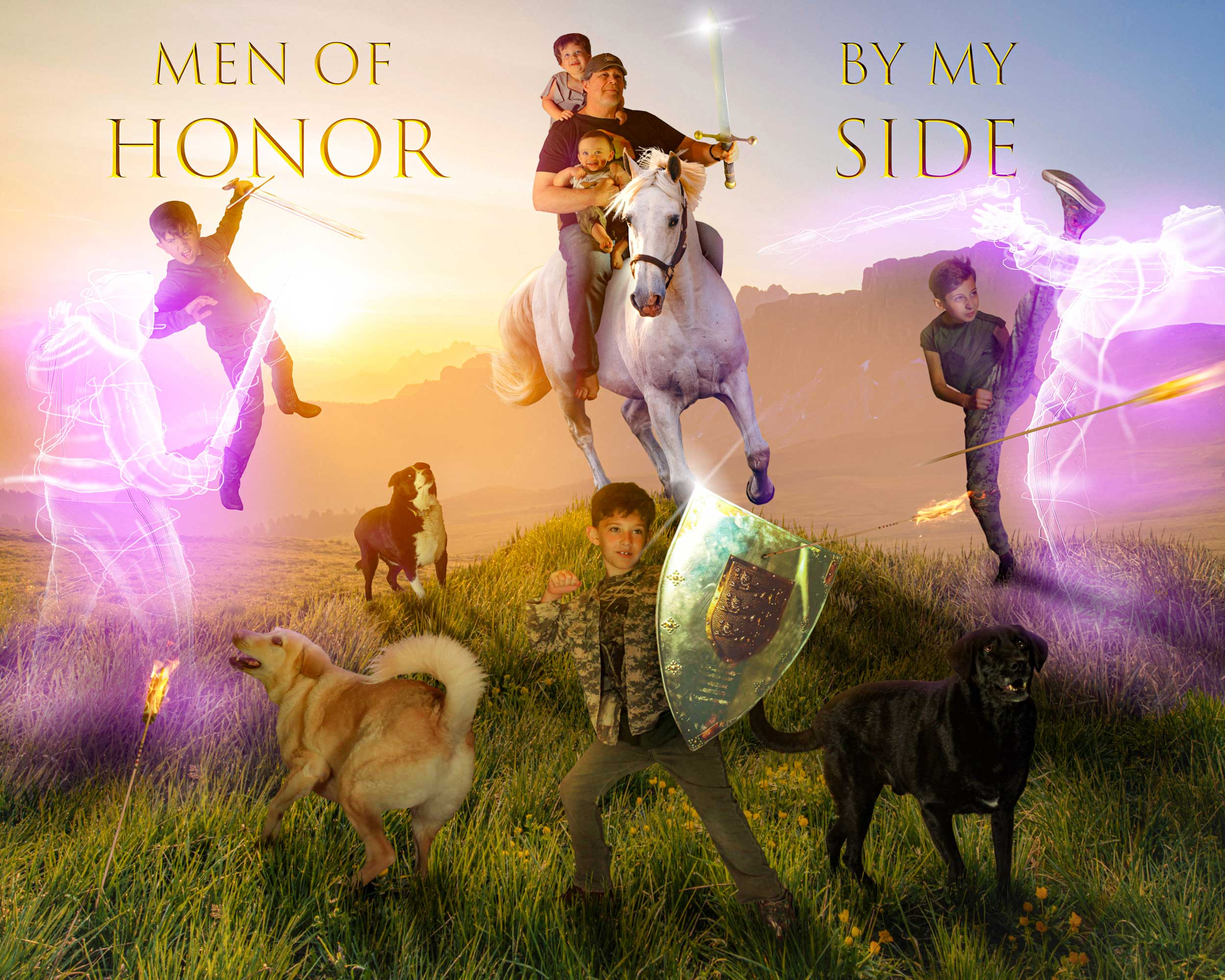 A man, his 5 young grandchildren, and 3 valiant dogs conquer a field of battle together.