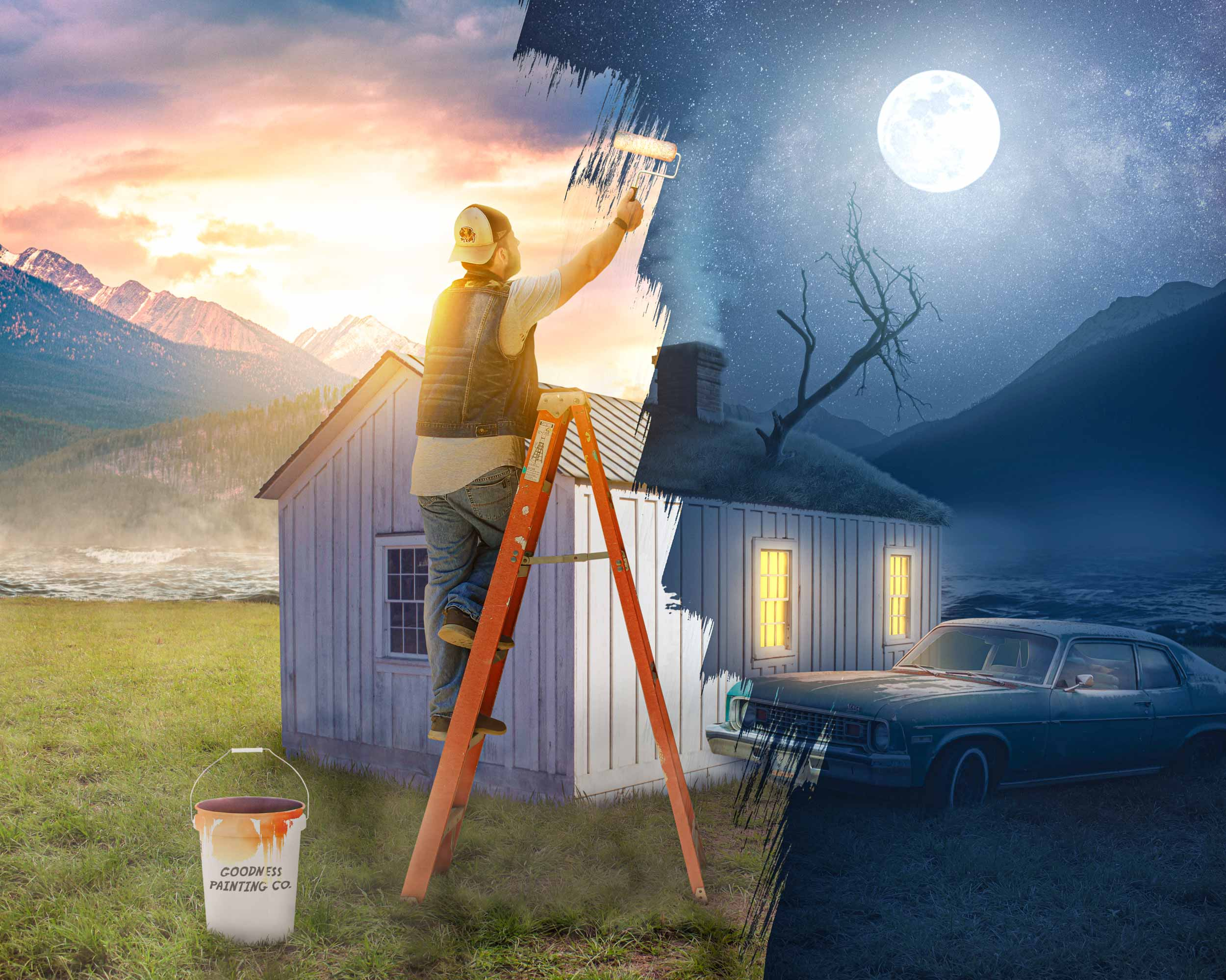 Goodness. A man is on a ladder painting a scene from night into day, from light into darkness.