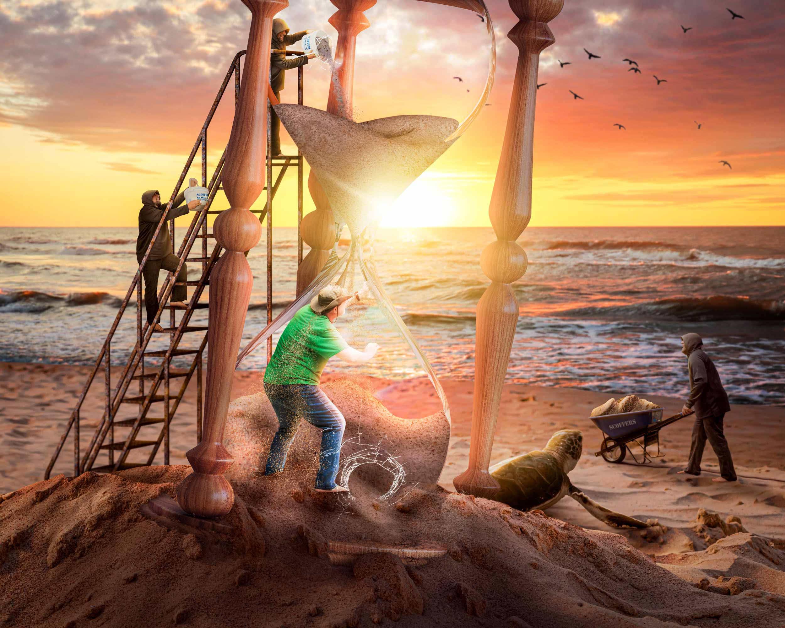 A man is trapped in an hourglass, on the beach as minions keep pouring more sand into the top of the hourglass. However, the man is focused on the sunrise on the horizon.