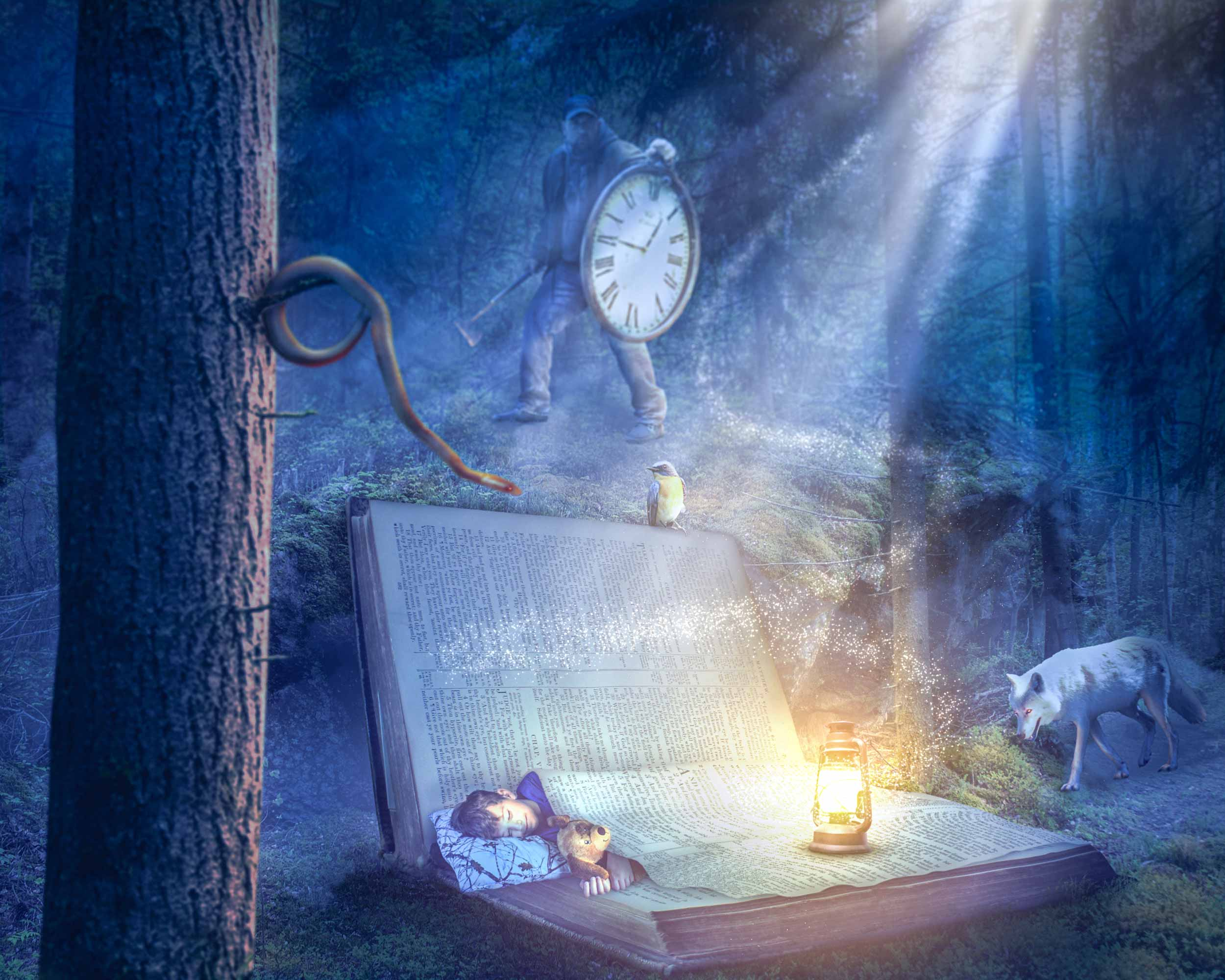 A young boy is in a peaceful sleep in a Bible as a snake, a wolf, and a woodsman close in on him.